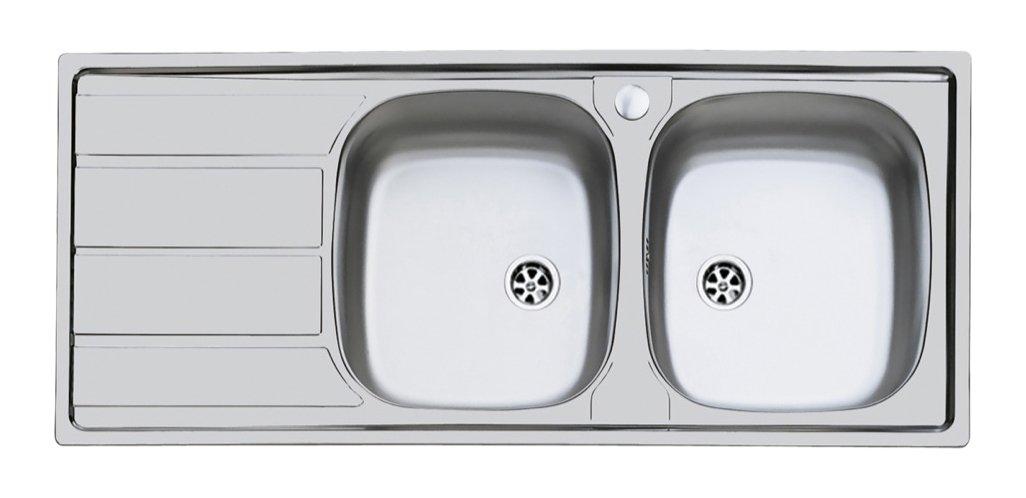 U81022 DX2 Lavello Inox 2 Vasche Destra con Sgocciolatoio, 116 x 50 cm