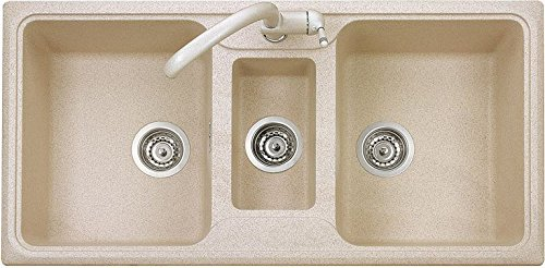 Plados Lavello Cucina Incasso 2 Vasche 1/2 99 cm Ultragranit Avena UG94  SP0992